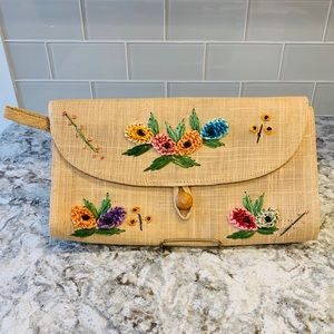 Vintage Hand Embroidered Straw Clutch Bag